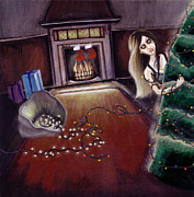 Xmas Paintings - BLACK XMAS Brighten up the Christmas lights by Rouble Rust