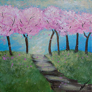 Cherry Blossoms Painting Metal Prints - Blossoming Metal Print by Sasha Moye