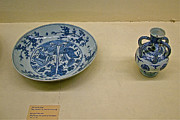 Blue And White Porcelain Prints - Blue and White Porcelain circa 1570 in Topkapi Palace in Istanbul Print by Ruth Hager