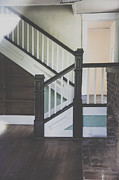 Staircase Railing Prints - Blue Details Print by Toni Hopper