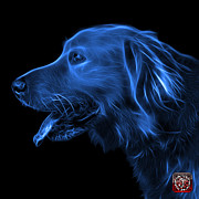 Retriever Digital Art - Blue Golden Retriever - 4047 F by James Ahn