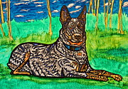 Heeler Paintings - Blue Heeler by Jamie Winters