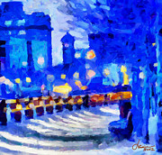 Vincent Dinovici Prints - Blue January Night in the City TNM Print by Vincent DiNovici