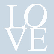 In Love Art Prints - Blue Love Print by Nomad Art And  Design