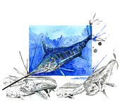 Dolphin Mixed Media Posters - Blue Marlin and Mahi Poster by Amber M  Moran