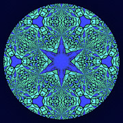 Mother Gift Art - Blue Ornamental Mandala by Zeana Romanovna
