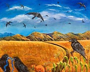 Cornfield Paintings - Blue Ribbon Crows by Susan Culver