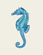 Blue Sea Print Posters - Blue Seahorse Poster by Loopylolly