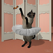 Tutus Digital Art - Blue Siamese Ballet Cat on Paw-te by Andre Price