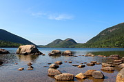 Reflection Of Rocks In Water Posters - Blue Skies at Jordan Pond Poster by Kathleen Garman