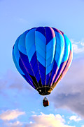 Airships Prints - Blue Stripped  Balloon Print by Robert Bales