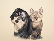 Jeanette Kabat - Blue Tick Hound and Calico Cat