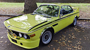Canary Yellow Prints - Bmw 3.0 Csl Print by Maj Seda