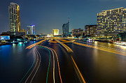 Fototrav Print - Boat light trails on Bangkok Chao...