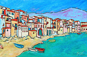 Italian Villas Paintings - Boats In Front Of Buildings VIII by Xueling Zou