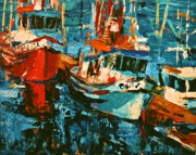 Docked Boat Painting Prints - Boats In Turquoise Print by Brian Simons
