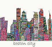 Usa Prints Mixed Media - Boston city modern  by Brian Buckley