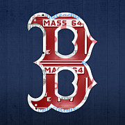 Recycle Mixed Media Prints - Boston Red Sox Logo Letter B Baseball Team Vintage License Plate Art Print by Design Turnpike