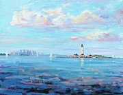 New England Lighthouse Painting Prints - Boston Skyline Print by Laura Lee Zanghetti