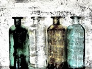 Bottles Digital Art - Bottles Against the Wall by Marsha Heiken