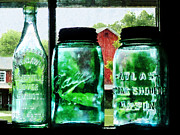 Canning Jars Posters - Bottles and Canning Jars Poster by Susan Savad