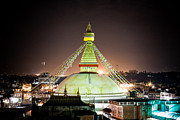 Tibetan Buddhism Prints - Boudhanath stupa at night in Nepal Kathmandu Print by Raimond Klavins