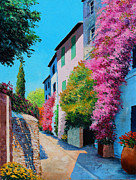 Impressionist Digital Art - Bougainvillea in Grimaud by Jean-Marc Janiaczyk