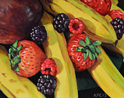 Black Berries Painting Framed Prints - Bountiful Framed Print by Kenneth Cobb