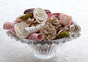 Pine Cones Photos - Bowl of Potpourri on Lace by Connie Fox