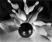 Accurate Photos - Bowling Ball Strikes Pins by Underwood Archives