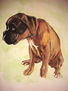Boxer Puppy Paintings - Boxer in Trouble by Carol Blackhurst