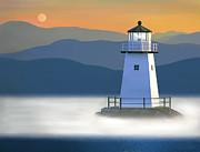 New England Lighthouse Painting Prints - Breakwater Light Print by James Charles