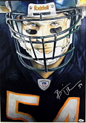 Autographed Drawings Originals - Brian Urlacher-Autographed by Dan Troyer