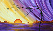 Shimmering Posters - Brilliant Purple Golden Yellow Huge Abstract Surreal Tree Ocean Painting ROYAL SUNSET by MADART Poster by Megan Duncanson