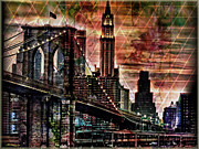 Brooklyn Bridge Mixed Media Framed Prints - Brooklyn Bridge II Framed Print by Christine Mayfield