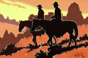 Arizona Cowboy Prints - Brown Cowboys Print by Randy Follis