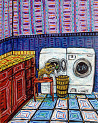 Jay Schmetz Metal Prints - Brussels Griffon Doing the Laundry Metal Print by Jay  Schmetz