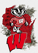 Mascot Metal Prints - Bucky Badger University of Wisconsin Metal Print by Jack Zulli