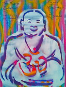 Affirmation Painting Posters - BUDDHA blue SMILING Poster by Tony B Conscious