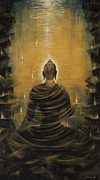 Original  Paintings - Buddha. Nirvana ocean by Vrindavan Das