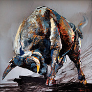 Fight Prints - Bull Fight Print by Dragan Petrovic Pavle