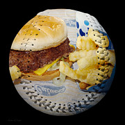 National Mixed Media Prints - Burger And Fries Baseball Square Print by Andee Photography