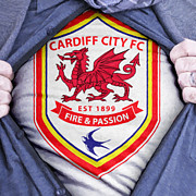 Shirt Digital Art Posters - Businessman Cardiff City Fan Poster by Antony McAulay