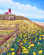 Maine Lighthouses Digital Art Prints - Buttercups and Daisys Print by David Linton