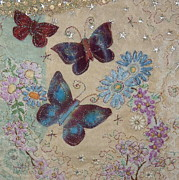 Pink Flowers Tapestries - Textiles Prints - Butterflies Print by Hazel Millington