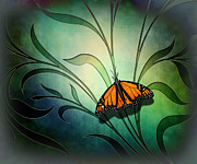 Field Mixed Media Acrylic Prints - Butterfly Pause V1 Acrylic Print by Bedros Awak