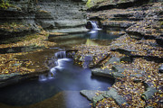 Wine Reflection Art Posters - Buttermilk Falls in Autumn II Poster by Michele Steffey