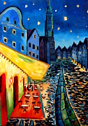Cafe Terrace Originals - Cafe Terrace in Landshut - inspired by Van Gogh by M Bleichner