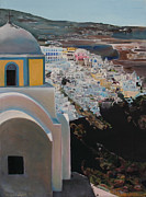 Orthodox Painting Originals - Caldera Church Santorini by Debra Chmelina