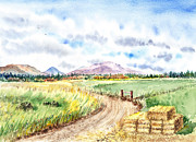 Mountain Road Painting Posters - Californian Landscape Saint Johns Ranch of Mountain Shasta County Poster by Irina Sztukowski
